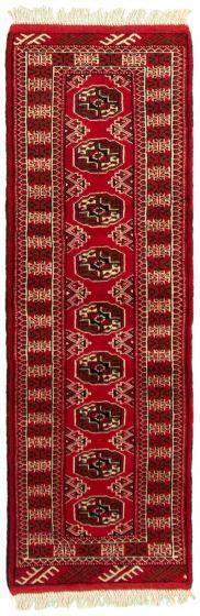 Bordered  Tribal Red Runner rug 6-ft-runner Turkmenistan Hand-knotted 332292