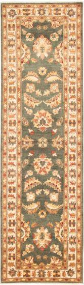 Bordered  Traditional Green Runner rug 10-ft-runner Afghan Hand-knotted 292999