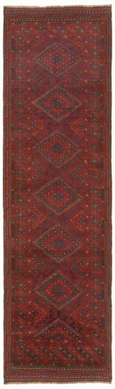 Bordered  Tribal Red Runner rug 9-ft-runner Afghan Hand-knotted 342438