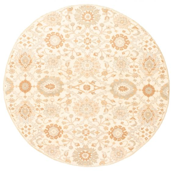 Floral  Transitional Ivory Area rug Round Pakistani Hand-knotted 331469