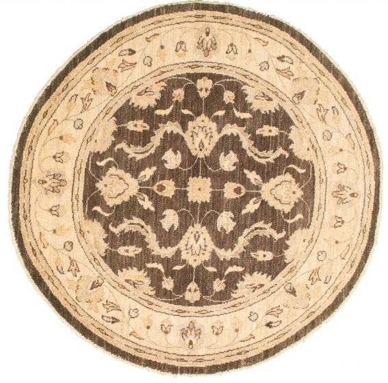 Bordered  Traditional Brown Area rug Round Afghan Hand-knotted 336630