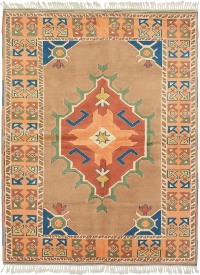 Bordered  Vintage Brown Area rug 5x8 Turkish Hand-knotted 293247