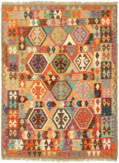 Bordered  Geometric Multi Area rug 4x6 Turkish Flat-weave 329973