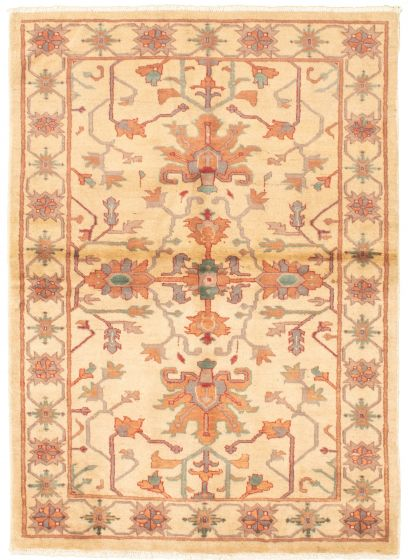 Bordered  Traditional Ivory Area rug 3x5 Afghan Hand-knotted 330443