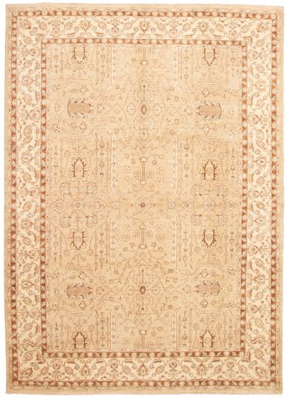Bordered  Traditional Yellow Area rug 9x12 Pakistani Hand-knotted 330539
