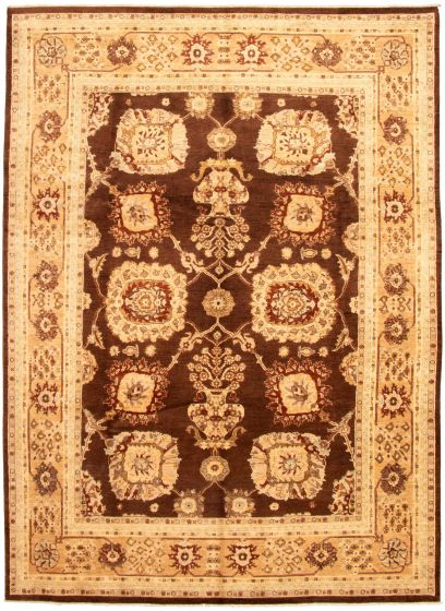Bordered  Traditional Brown Area rug 9x12 Pakistani Hand-knotted 330610