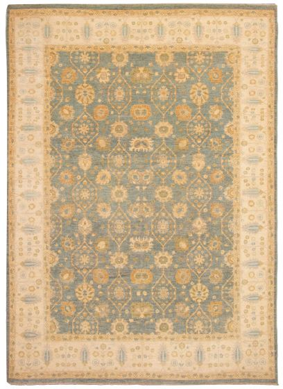 Bordered  Traditional Blue Area rug 9x12 Pakistani Hand-knotted 331187