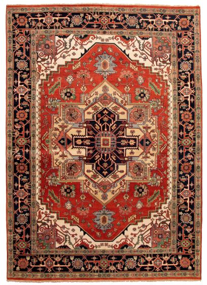 Bordered  Traditional Brown Area rug 10x14 Indian Hand-knotted 332155