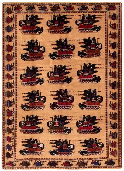 Bordered  Tribal Brown Area rug 6x9 Afghan Hand-knotted 342386