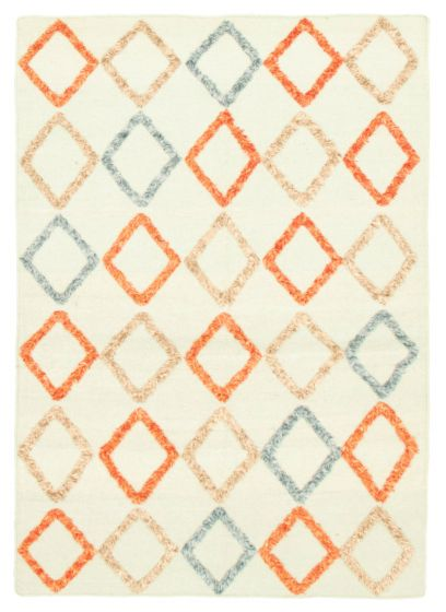 Carved  Transitional Blue Area rug 4x6 Indian Flat-weave 344488