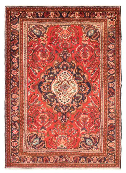 Bordered  Traditional Red Area rug 8x10 Persian Hand-knotted 366594