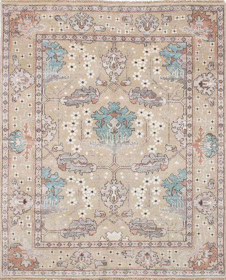 Traditional Ivory Area rug 6x9 Indian Hand-knotted 222702