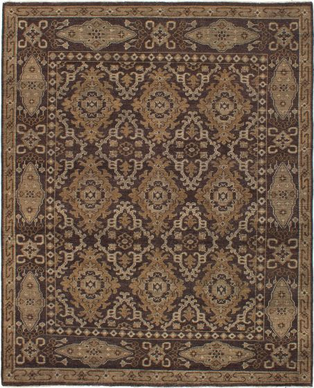 Bordered  Traditional Brown Area rug 6x9 Indian Hand-knotted 272234