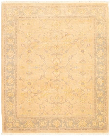 Bordered  Traditional Ivory Area rug 6x9 Pakistani Hand-knotted 318670