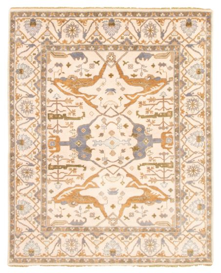 Bordered  Traditional Ivory Area rug 6x9 Indian Hand-knotted 344796