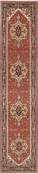Floral  Traditional Brown Runner rug 12-ft-runner Indian Hand-knotted 223073