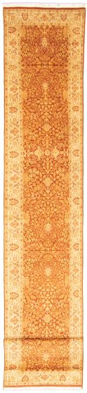 Bordered  Traditional Brown Runner rug 16-ft-runner Pakistani Hand-knotted 330317