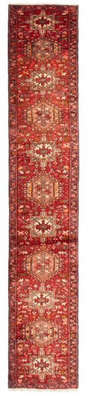 Bordered  Traditional Red Runner rug 12-ft-runner Persian Hand-knotted 358601