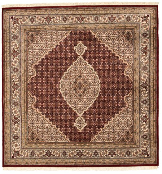 Bordered  Traditional Red Area rug 6x9 Indian Hand-knotted 309024
