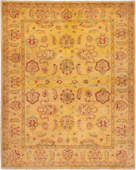 Bordered  Traditional Ivory Area rug 6x9 Afghan Hand-knotted 268389