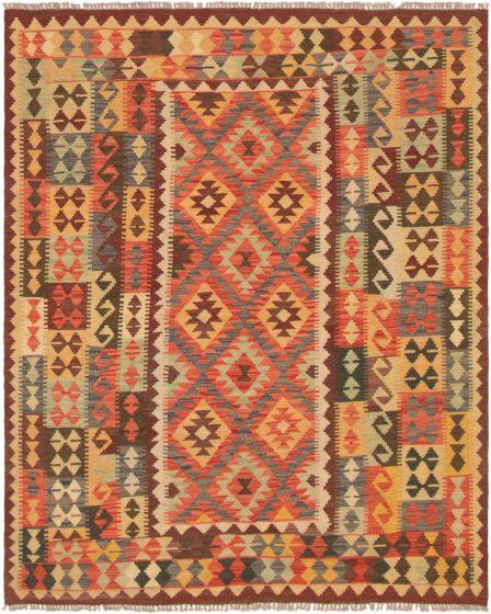 Bordered  Geometric Red Area rug 4x6 Turkish Flat-weave 297685