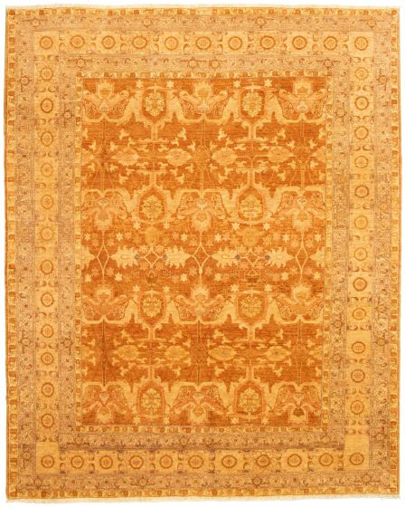 Bordered  Traditional Brown Area rug 8x10 Afghan Hand-knotted 330605