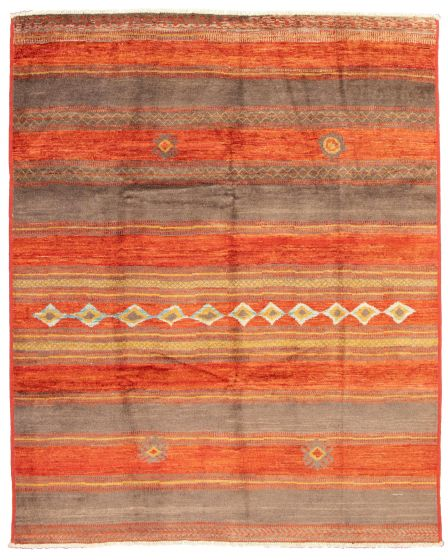 Casual  Tribal Red Area rug 9x12 Pakistani Hand-knotted 337557