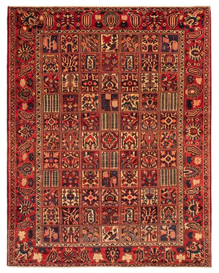 Bordered  Traditional Red Area rug 9x12 Persian Hand-knotted 366581