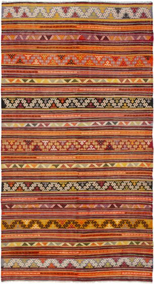 Bohemian  Stripes Red Area rug Unique Turkish Flat-weave 292857