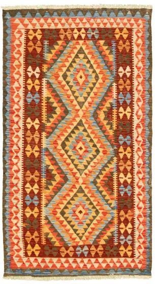 Bordered  Geometric Multi Area rug 3x5 Turkish Flat-weave 330201
