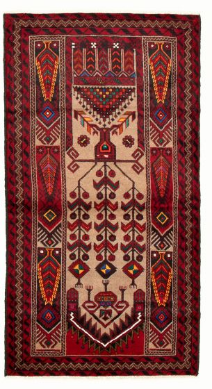 Bordered  Tribal Red Area rug 3x5 Afghan Hand-knotted 334750