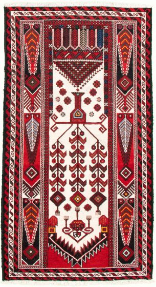 Bordered  Tribal Ivory Area rug 3x5 Afghan Hand-knotted 334756