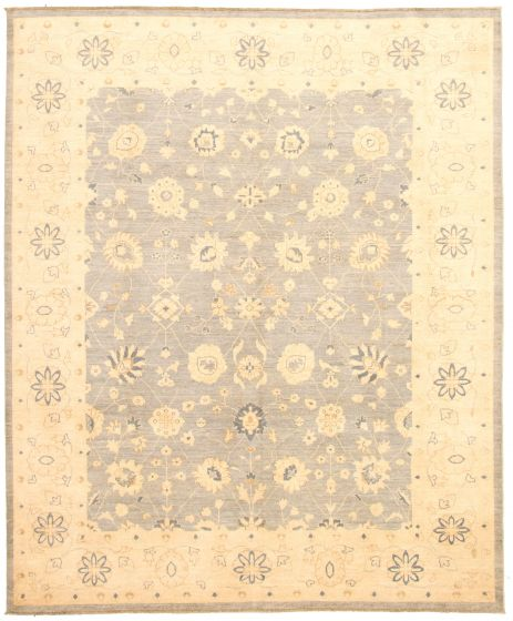 Bordered  Traditional Grey Area rug 6x9 Pakistani Hand-knotted 330595