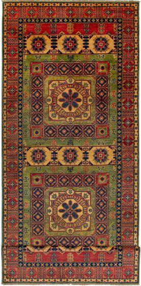 Bordered  Geometric Brown Runner rug 19-ft-runner Afghan Hand-knotted 272643